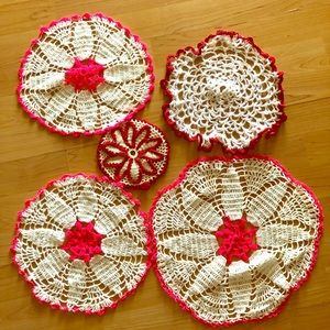 Other - 5 handmade crochet doilies vintage